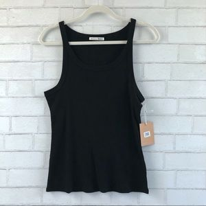 Reformation Milly Black Ribbed Tank Top XL NWT